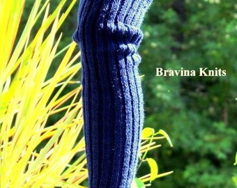 Sweater Knit Dark Navy Leg Warmers 25 inches Women/Men