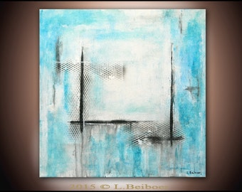 Original abstract painting contemporary art chalky white blue 24 x 24 mixed media abstract handmade art by L.Beiboer