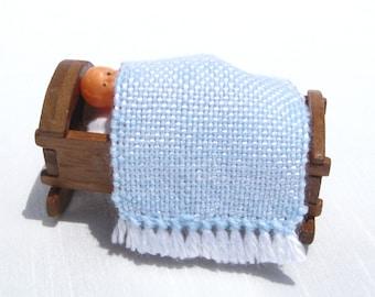 Dollhouse Baby Blanket Handwoven Blue Small Dollhouse Rug Dollhouse Crib Blanket Blue Tiny Doll Blanket Barbie's Baby Krissy Blanket