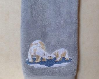 Polar Bear with cub machine embroidery on light blue hand towel