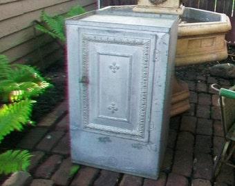 Antique Tin Pie Safe Bread Box 27.5 Inches High Circa 1910s Farmhouse Decor