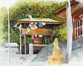 Watercolor ORIGINAL - Prayer Flags - Bhutan, Virtual Paintout, travel, Himalayas, monastery, fortress, Tibet, Buddhism