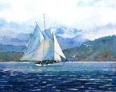 Watercolor ORIGINAL - Good Morning for Adventure - sailing, sailboat, Bellingham Bay, Adventuress, ship, Washington