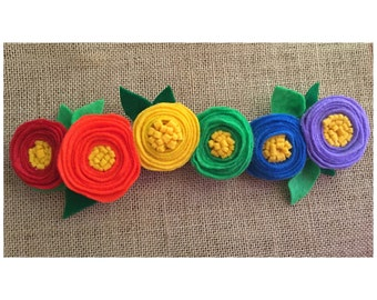 Rainbow Felt Flower Headband Crown