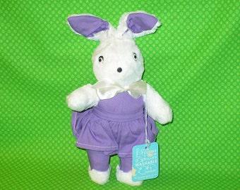 """1950s KA-KLAR White & Purple Easter Bunny Rabbit Girl Plush Stuffed Animal Paper HANG Tag 12"""" tall"""