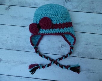 Children Crochet Hat, Baby Girl Hat with Bow, Blue and Red Hat
