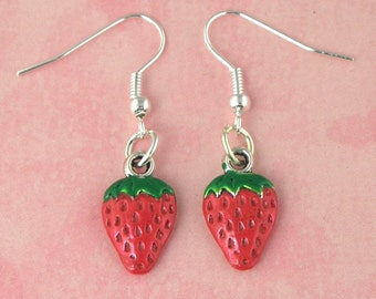 Strawberry Tiki Charm Earrings - Vintage Inspired - Rockabilly Pinup Jewellery - Retro 50s Kitsch Earrings - Fruit Jewellery