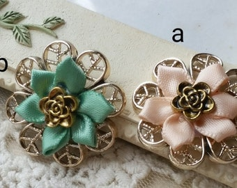 27 mm Rose Gold base with Grosgrain Flower hair accessories /Brooch   (.s)