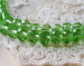 6 x 8 mm 48 Faceted Cut Rondelle Light Green Color Glass / Crystal / Lampwork Beads (.mcs)