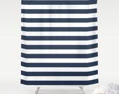 Premium FABRIC SHOWER CURTAIN Wide Navy Blue White Cabana Stripes New Minimalist Urban Modern Bath . Machine Washable Woven Polyester