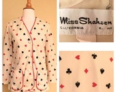 ON SALE Vintage 60s Las Vegas Womens Blazer Jacket by Miss Shaheen of California 1960s Queen of Hearts Poker Jacket