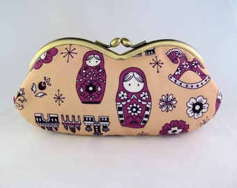Matryoshka Russian Doll Soft Eyeglass Case - Eye Glass Case - Sunglasses Case - Cute Glasses Case - Sunglass Case - Glasses Case Kiss Lock