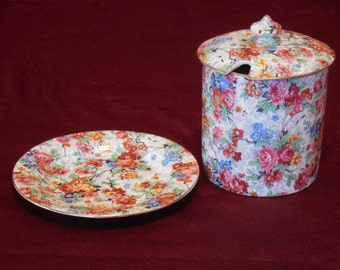 Lord Nelson Marina Chintz Jam / Jelly Jar with Lid and Underplate