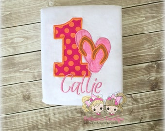 Flip flops birthday shirt - summer birthday shirt - beach birthday shirt - beach themed birthday shirt - embroidered flip flops shirt