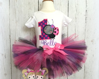 Ladybug birthday outfit - 1st birthday ladybug tutu outfit - pink and purple ladybug outfit - little bug outfit - custom birthday tutu set