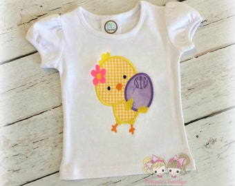 Girls Easter chick shirt - chick carrying egg- 1st Easter shirt for girls - yellow chick shirt - embroidered personalized Easter shirt