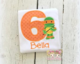 Orange turtle ninja shirt - turtle shirt - embroidered turtle shirt for boys - embroidered ninja shirt - custom personalized birthday shirt