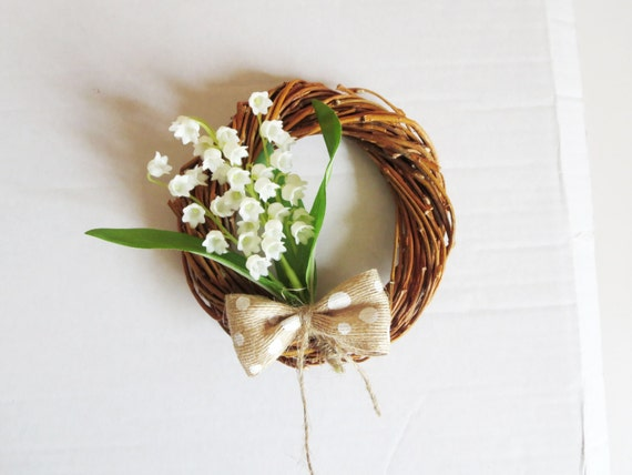 Mini wreath with  lily of the valley-spring flowers wreath -  mini Acorn wreath -