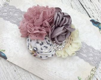 Mauve gray ivory girls headband baby girl headbands chiffon flower fabric flower Vintage infant newborn rolled rosette women