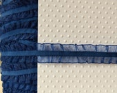 "Navy Blue Organza Elastic Trim. 1"" Width. Navy Blue Ruffle Elastic. You Choose Quantity."