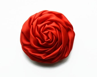 "Red Satin Rosette. 2.5"" RED Satin Rosette. Set of 2 Flowers. Hazel Collection."