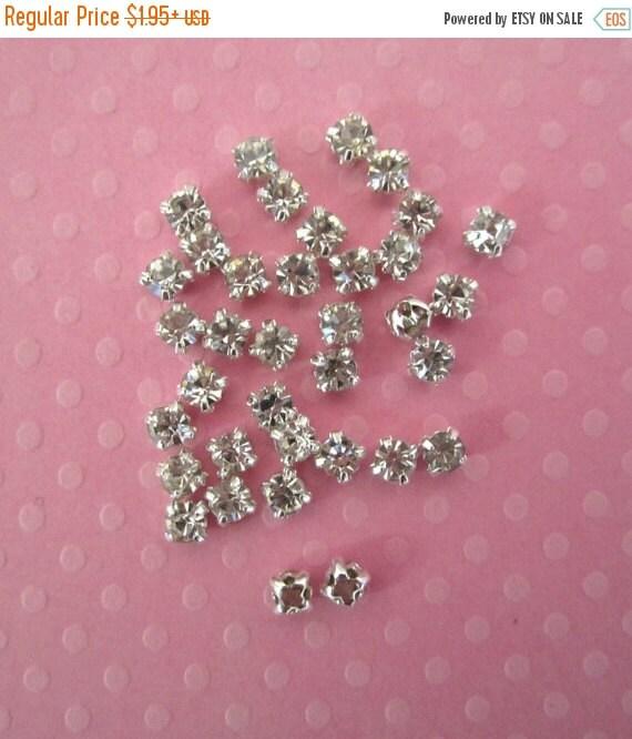 Sale 2mm Sew on Rhinestones. Tiny Glass Rhinestones. 50 Pieces.