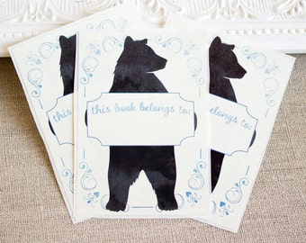 PERSONALIZED Bookplate Stickers - Watercolor Bear Silhouette - Blue