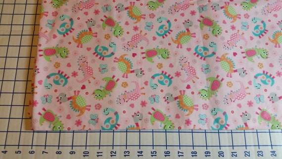 Cotton flannel fabric by the yard flannel dinosaur for Baby dinosaur fabric