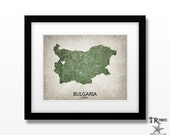 Bulgaria Map Art Print - Home Is Where The Heart Is Love Map - Original Custom Map Art Print Available in Multiple Size and Color Options