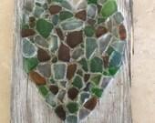 Handmade Real Sea Glass Heart on Old Barnwood with metal hanger / Wallhanging