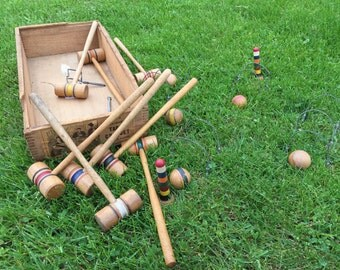 Antique Croquet Set Miniature Table Top Game Lawn games Victorian vintage toy country cottage chic party spring summer mallet wicket decor