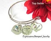 Sister Bracelet with birthstones//Bangle bracelet//Gifts for sisters//hand stamped bracelet//always heart you gifts//heart bracelets