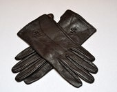 RESERVED Vintage Dark Brown Leather  Gloves with Top Stitching