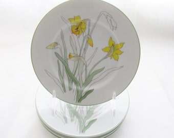 Daffodil Dessert Plates, Set of Four, Watercolors, 1980s Spring Plates, Block Spal