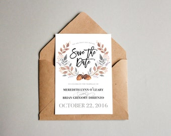 Save The Date // Fall Wedding // Watercolor Acorn Laurel // Printable Option // Fall Floral