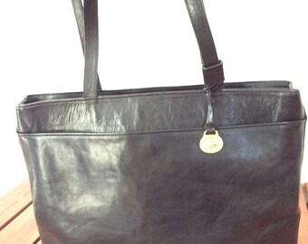WEEKEND SALE 20% OFF Sale Genuine Vintage Brahmin Black Leather Tote Shopping Bag