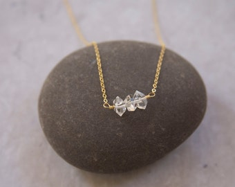 3 Crystal 14k Gold FIlled Necklace