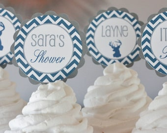 12 - Navy Grey Chevron Deer Silhouette Hunter Outdoor Baby Shower Theme Birthday Cupcake or Cake Toppers - Ask About our Party Pack Sale