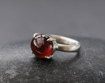 Red Hessonite Garnet Ring - Red Gemstone Ring - Cabochon Garnet Ring set in Sterling Silver -  Made to order - Free Shipping