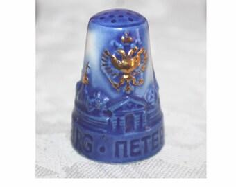 Oversized Russian Gzhel Souvenir of St Petersburg porcelain thimble. Russian Gzhel