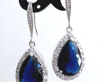 Bridal Earrings Halo Dark Sapphire Blue Pear Shaped Cubic Zirconia with White Gold Plated CZ Earrings
