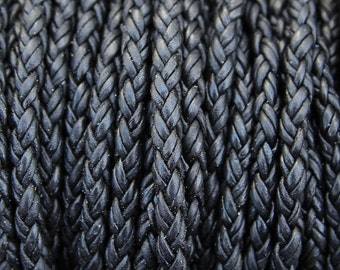 4.5mm Black Round Braided Bolo Leather Cord - Natural Dye - 4.5mm Wide - 8 Strand Braided Cord