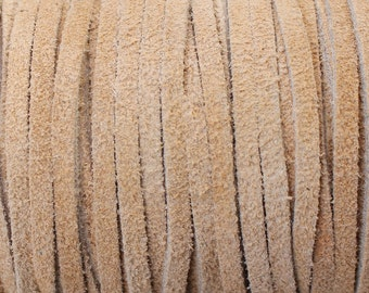 3mm Tan Flat Suede Lace 3mm Wide Leather - Beige - Light Brown