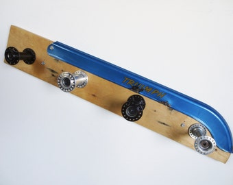 Handcrafted Coat Rack made from Reclaimed Wood and Recycled Bicycle Parts , Bicycle Accessories