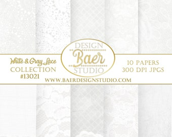 Lace Digital Paper, White Lace Digital Paper, White Digital Paper Set, Wedding Digital Paper, Shabby Chic Digital Paper, #13021