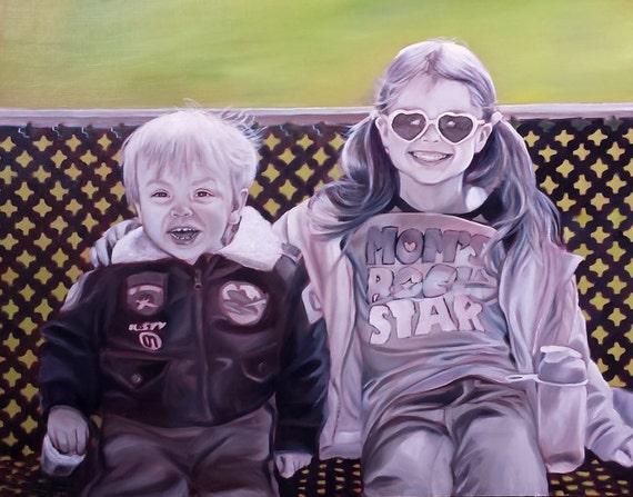 CUSTOM PORTRAIT - Custom Painting of Children - Family Portrait - Black and White Painting - 9x12