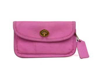 Vintage Coach Pink Leather Wallet Zip Pouch Organizer // Rare Limited Edition Color // Skinny Make-up Bag
