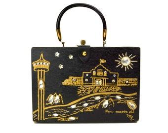 Vintage K-Wes 1968 World's Fair Handbag // HemisFair, San Antonio, Texas, Alamo, New Meets Old // Black & Gold Rhinestone Wooden Box Purse