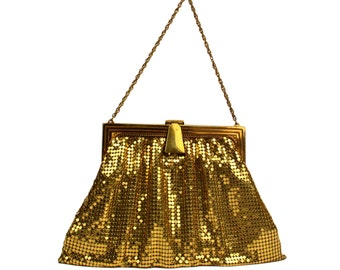 Vintage Whiting and Davis Gold Metal Mesh Purse //Mid-Century Hollywood Glamour