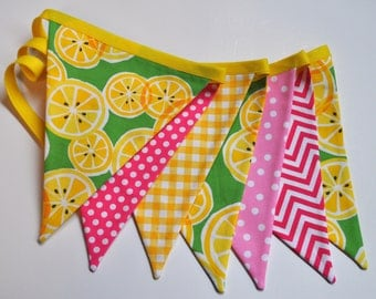 Pink Lemonade fabric pennant banner bunting, lemonade stand, party decoration, pink lemonade birthday party decor, cake smash photo prop